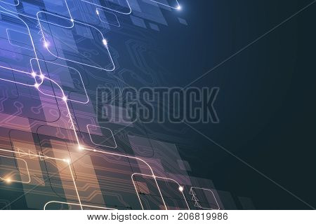 Abstract colorful tech pattern background with glowing circuit. Technology innovation hardware concept. 3D Rendering