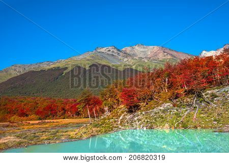 Gorgeous landscape of Patagonia's Tierra del Fuego National Park in Autumn 2017