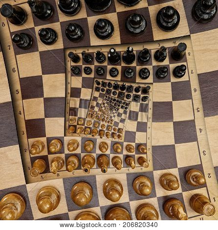 Abstract wooden chess desk board square spiral effect. Chess wooden board abstract spiral fractal Surreal chess board figures spiral background pattern fractal effect