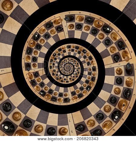 Isolated on black abstract wooden chess desk white black figures mix spiral effect. Chess wooden board abstract spiral fractal Surreal chess board figures spiral background pattern fractal effect
