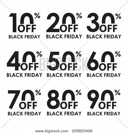 Sale icon set. Black Friday concept. Discount price off and sales design template. Shopping and low price symbols. 102030405060708090 percent sale. Vector illustration.