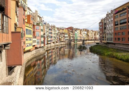 Oñar River Passing By Gerona In A Clear Sky, Spain