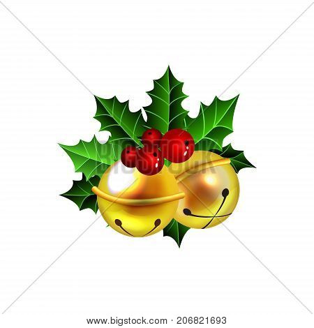 Two golden jingle bells with red berries anb holly vector