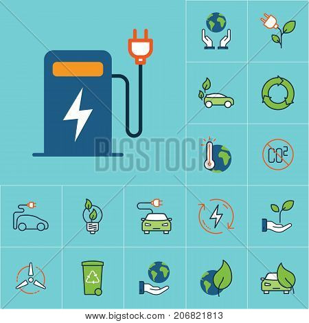 Flat Color Electric Car Charge Station Icon, Green Energy Set
