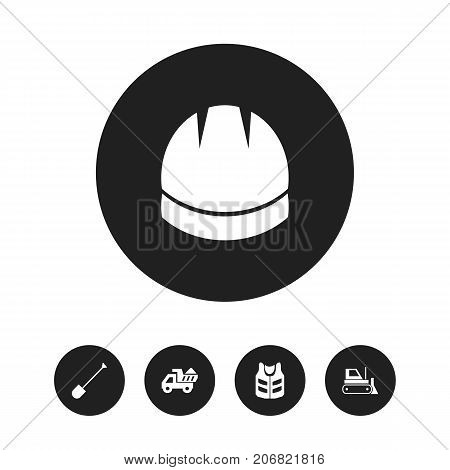 Set Of 5 Editable Construction Icons. Includes Symbols Such As Bulldozer, Camion, Cork Jacket And More