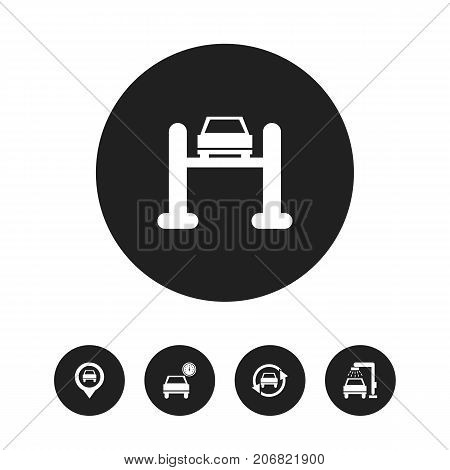 Set Of 5 Editable Vehicle Icons. Includes Symbols Such As Tuning Auto, Vehicle Wash, Service And More
