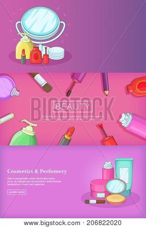 Beauty banner set template. Cartoon illustration of beauty banner vector set template for any web design