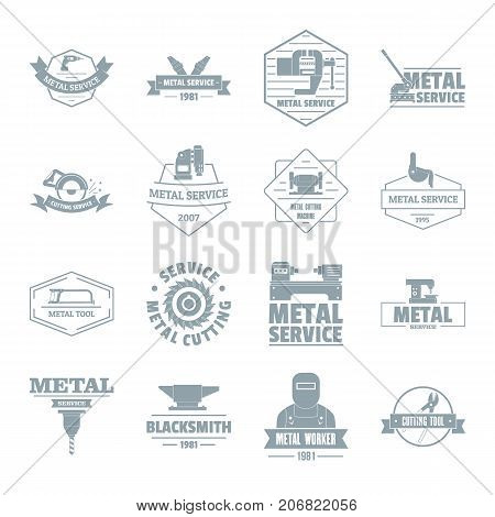 Metal working logo icons set. Simple illustration of 16 metal working logo vector icons for web