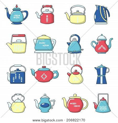 Teapot sport icons set. Cartoon illustration of 16 teapot vector icons for web