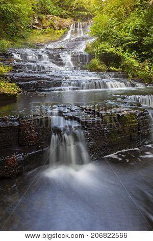 Water flowing down Myosotis Falls in New York