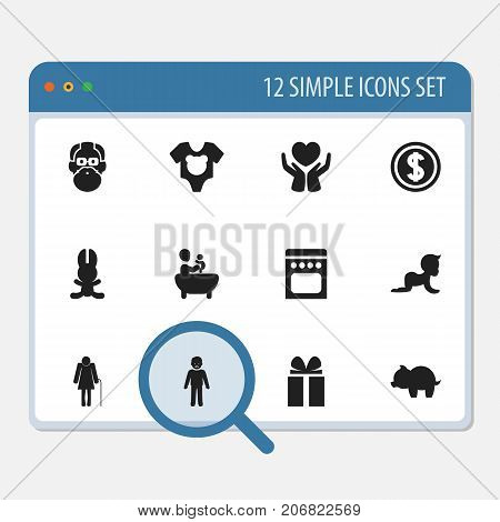 Set Of 12 Editable Kin Icons. Includes Symbols Such As Stove, Bodysuit, Save Love And More