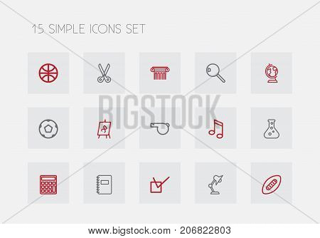 Set Of 15 Editable Science Outline Icons. Includes Symbols Such As Calculate, Classbook, Sport And More
