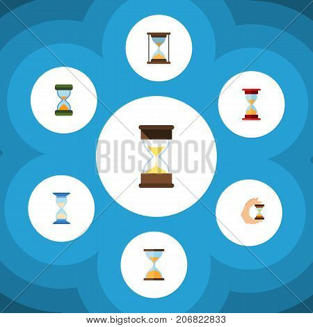 Flat Icon Hourglass Set Of Sandglass, Hourglass, Sand Timer Vector Objects