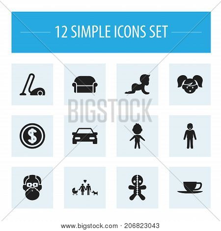 Set Of 12 Editable Relatives Icons. Includes Symbols Such As Daddy, Kid, Sweeper And More