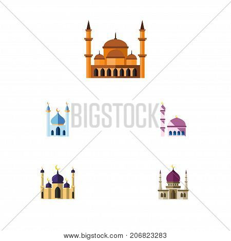 Flat Icon Mosque Set Of Building, Traditional, Mosque And Other Vector Objects