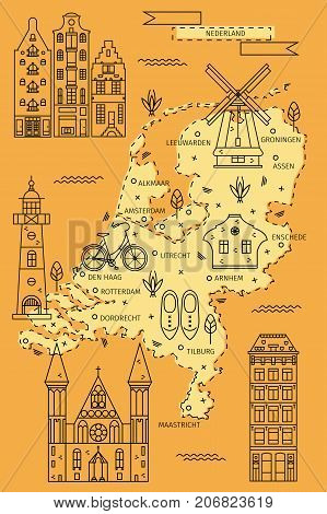 The Netherlands map in flat line design with traditional houses, symbols and decorations. Vector illustration of Holland area for banners, flyers, backgrounds, cards and posters.