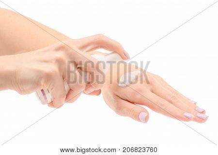 Female hand antiseptic hand foam on white background isolation