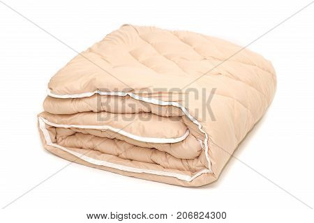 Blanket warm lint sintepon on white background isolation