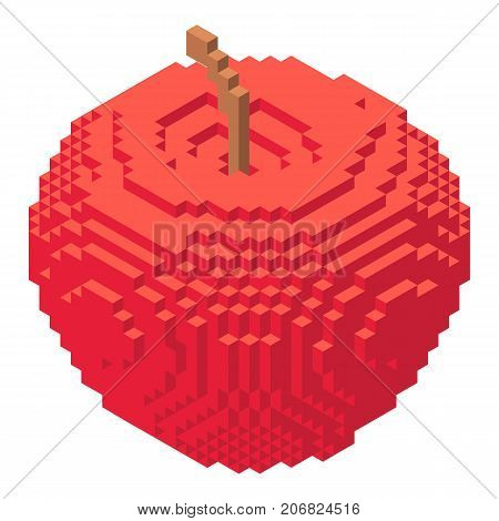Pixel apples icon. Isometric illustration of pixel apples vector icon for web
