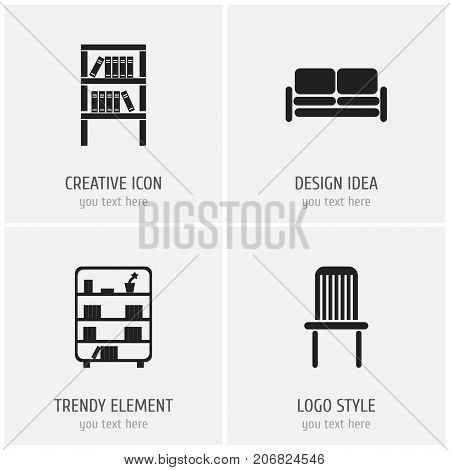 Set Of 4 Editable Interior Icons. Includes Symbols Such As Bookshelf, Bookrack, Divan And More