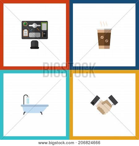 Flat Icon Lifestyle Set Of Bureau, Cappuccino, Partnership And Other Vector Objects