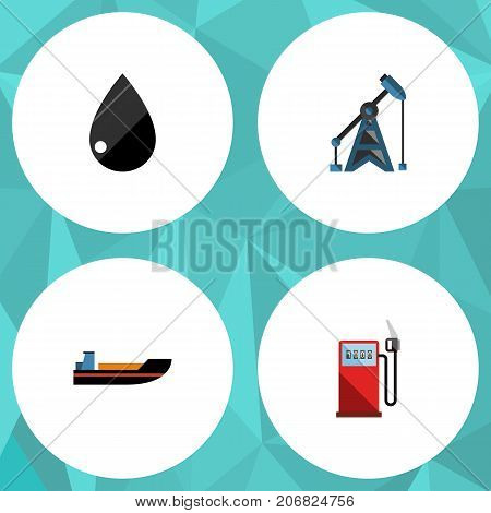 Flat Icon Fuel Set Of Petrol, Rig, Droplet And Other Vector Objects