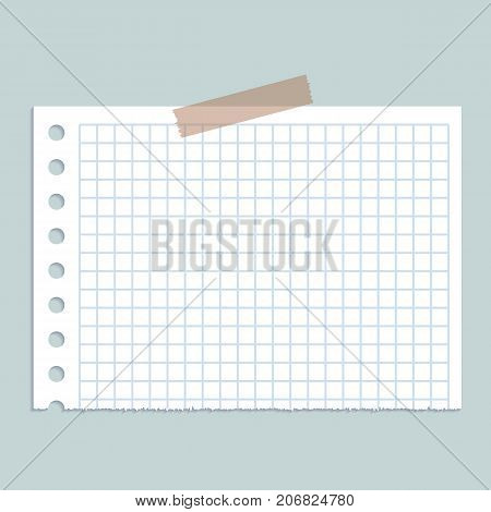 Piece of paper on wall concept background. Realistic illustration of piece of paper on wall vector concept background for web design