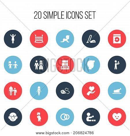 Set Of 20 Editable Kin Icons. Includes Symbols Such As Balcony, Fried Chicken, Sweeper And More