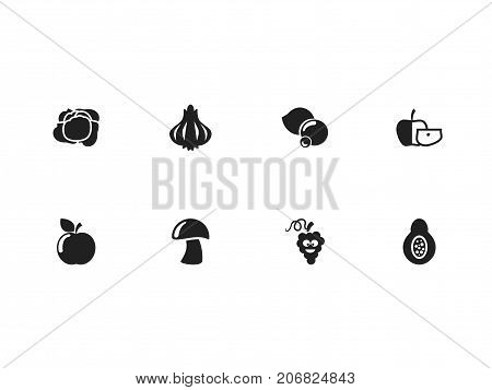 Set Of 8 Editable Cooking Icons. Includes Symbols Such As Fresh Fruit, Papaya, Cep And More
