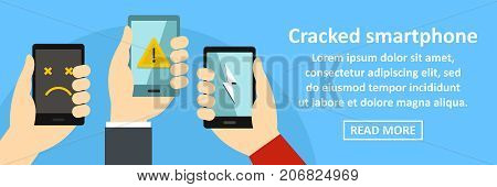Cracked smartphone banner horizontal concept. Flat illustration of cracked smartphone banner horizontal vector concept for web design