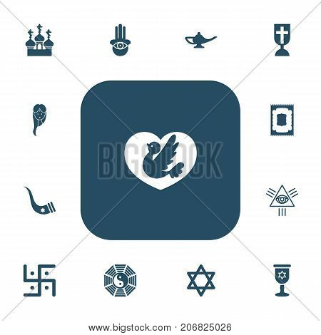 Set Of 13 Editable Faith Icons. Includes Symbols Such As Religious Sewn, Diwali, Taoism And More