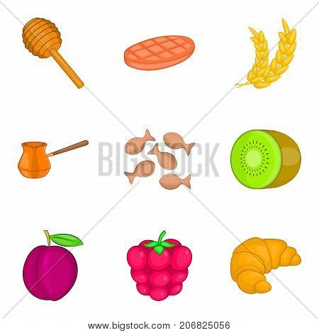 Fruit filling icons set. Cartoon set of 9 fruit filling vector icons for web isolated on white background