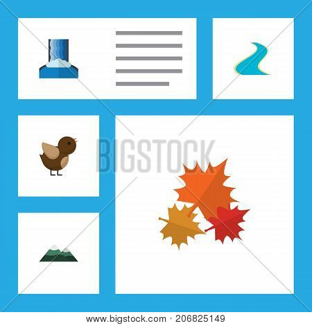 Flat Icon Ecology Set Of Peak, Tributary, Cascade And Other Vector Objects