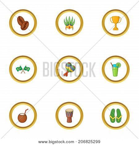 Brazil country icons set. Cartoon style set of 9 Brazil country vector icons for web design