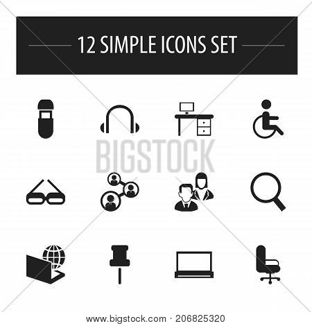 Set Of 12 Editable Bureau Icons. Includes Symbols Such As Pushpin, Loupe, Employee And More