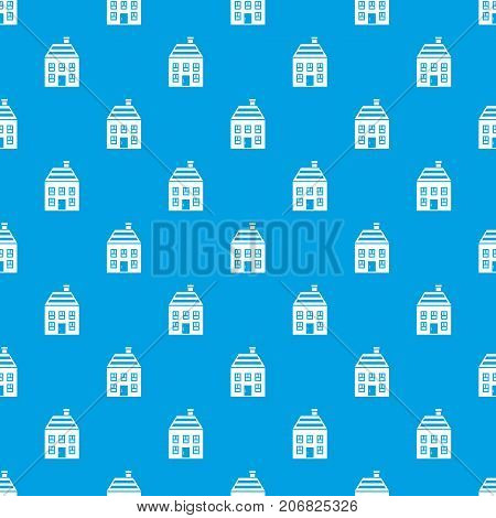 Two-storey house with chimney pattern repeat seamless in blue color for any design. Vector geometric illustration