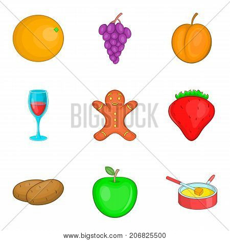 Night snack icons set. Cartoon set of 9 night snack vector icons for web isolated on white background