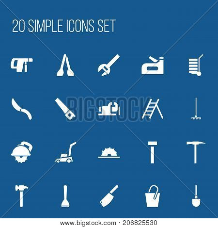 Set Of 20 Editable Equipment Icons. Includes Symbols Such As Nippers, Key, Staircase And More