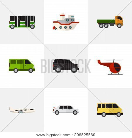 Set Of 9 Editable Automobile Flat Icons. Includes Symbols Such As Lorry, Boat, Truck And More