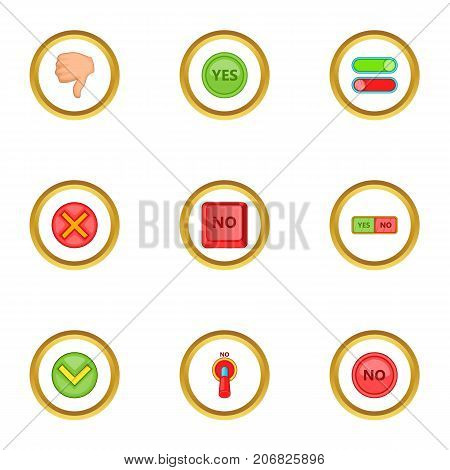 Right and wrong sign icons set. Cartoon style set of 9 right and wrong sign vector icons for web design