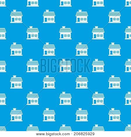 One-storey house pattern repeat seamless in blue color for any design. Vector geometric illustration