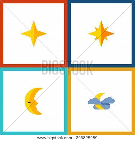 Flat Icon Bedtime Set Of Star, Midnight, Asterisk And Other Vector Objects