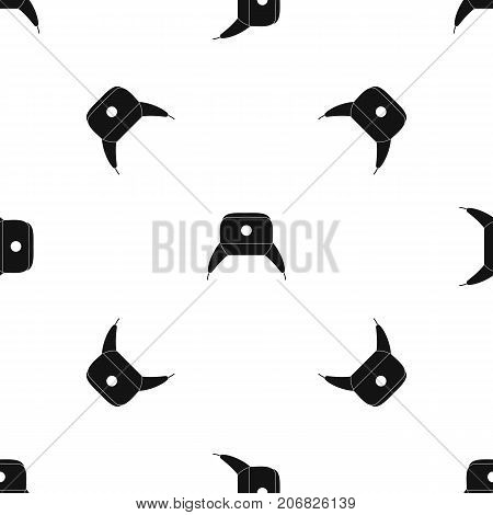 Earflap hat pattern repeat seamless in black color for any design. Vector geometric illustration