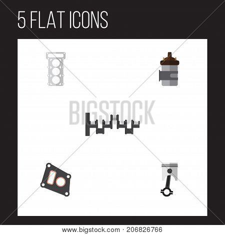 Flat Icon Component Set Of Gasket, Conrod, Steels Shafts And Other Vector Objects