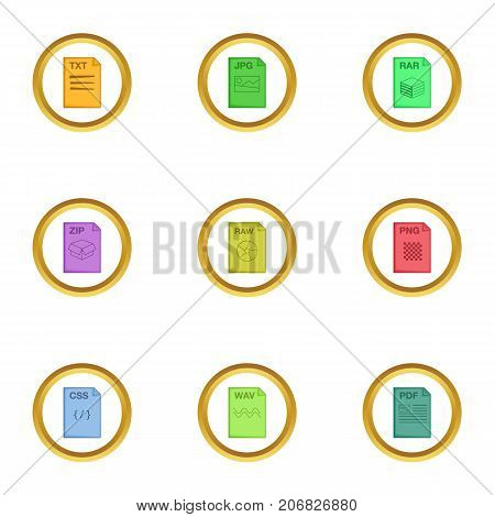 File type icons set. Cartoon style set of 9 file type vector icons for web design