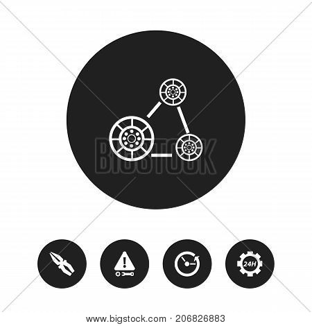 Set Of 5 Editable Repair Icons. Includes Symbols Such As Support Center, Cambelt, Time And More