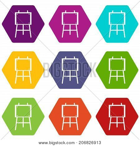 Wooden easel icon set many color hexahedron isolated on white vector illustration