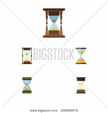 Flat Icon Sandglass Set Of Clock, Minute Measuring, Measurement And Other Vector Objects