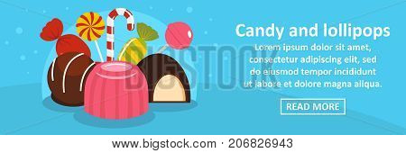 Candy and lollipops banner horizontal concept. Flat illustration of candy and lollipops banner horizontal vector concept for web design