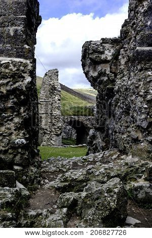 CORFE, WAREHAM, DORSET, UK - JULY 11: Remains of Corfe Castle on July 11, 2008 in Corfe, Dorset, UK